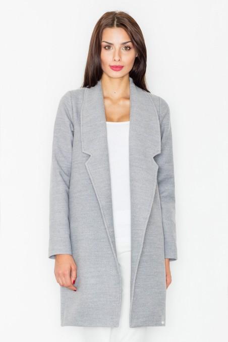 Laisvas pilkos spalvos paltas