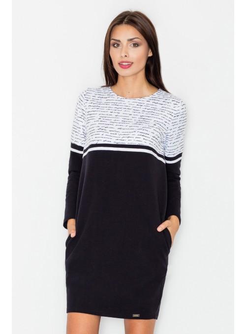 Patogi juodos-baltos spalvų suknelė