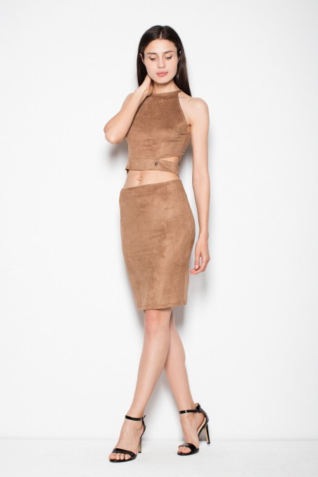 Išskirtinio dizaino rudos spalvos kostiumėlis