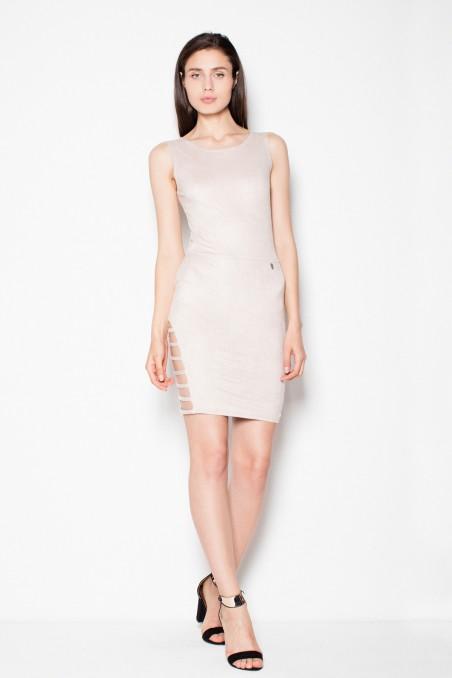 Lengva smėlio spalvos zomšinė suknelė