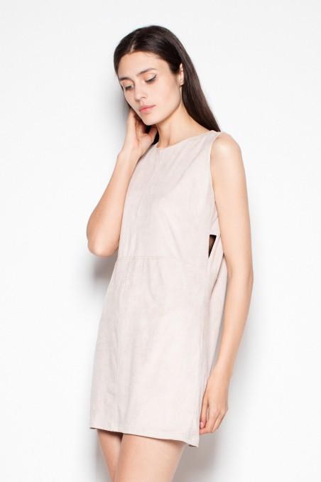 Smėlio spalvos trumpa suknelė