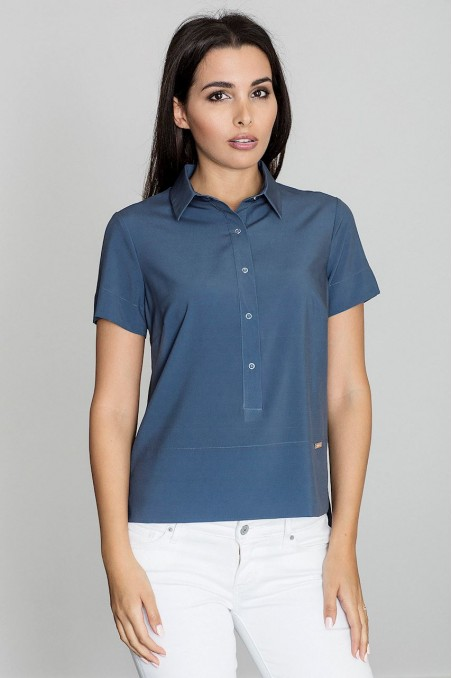 Mėlyni susagstomi marškinėliai