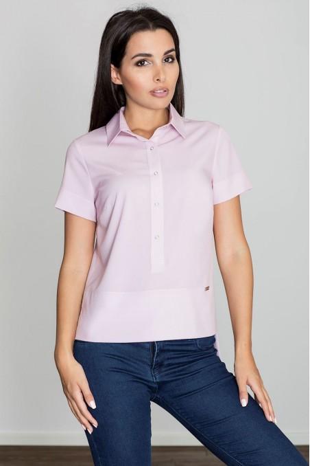 Rožiniai susagstomi marškinėliai