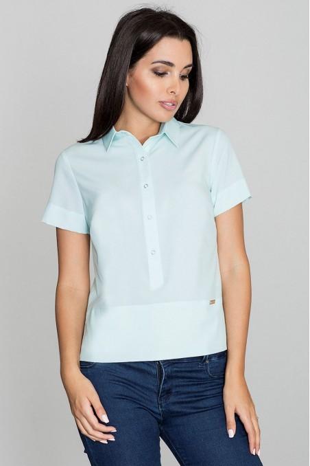 Mėtų spalvos susagstomi marškinėliai