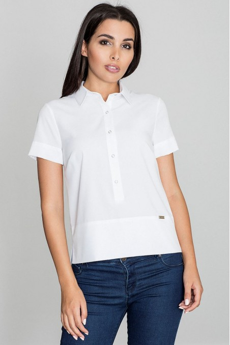 Balti susagstomi marškinėliai