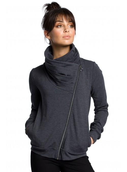Tamsiai pilkas megztinis su asimetrišku užtrauktuku