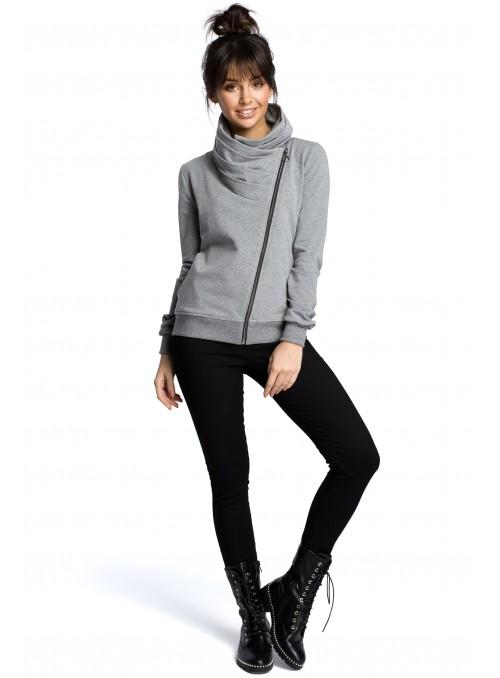 Pilkas megztinis su asimetrišku užtrauktuku