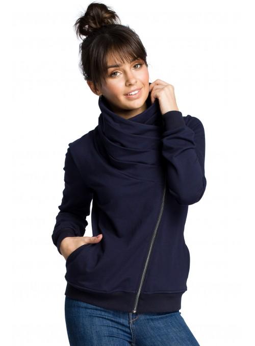 Tamsiai mėlynas megztinis su asimetrišku užtrauktuku