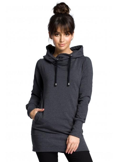 Ilgas tamsiai pilkas džemperis su gobtuvu