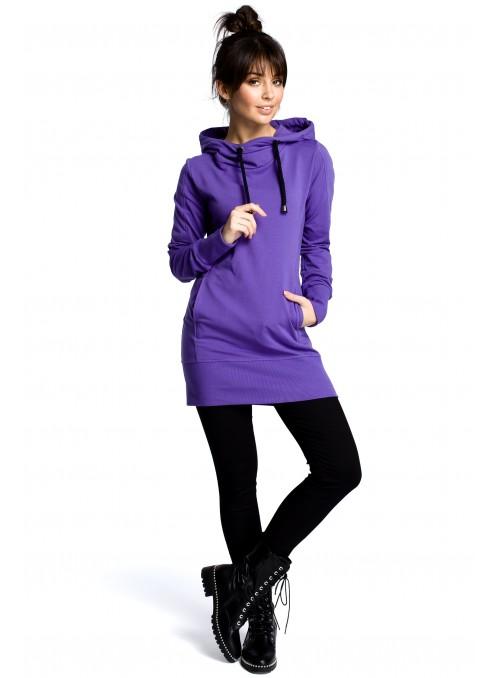 Ilgas violetinis džemperis su gobtuvu